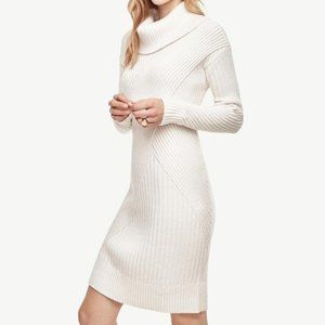 Ann Taylor white ribbed cowl neck sweater dress